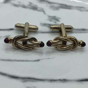Vintage Knot Red Tipped Cufflinks ER52